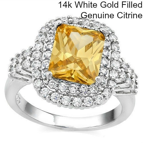 14k White Gold Filled, Genuine Citrine &  Beautifully Created Fine White Sapphire Ring SSIL8415