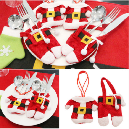 6 Pcs Christmas Silverware Holders Cutlery Pockets Fork Spoon Knife Bag Table Decor(3 Jackets and 3 Pants)