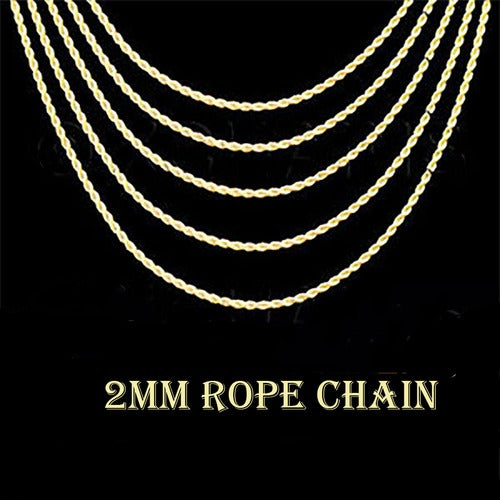 Amazing  18k Yellow Gold Plated Rope Chain 2 MM