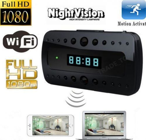 Mini 1080P WIFI P2P HD SPY DVR Hidden IP Camera Clock Wireless Video Recorder IR Cam Microphone Night Vision