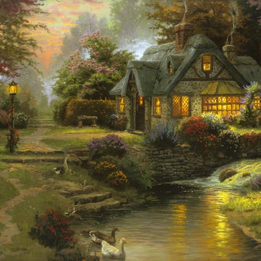 Landscape Art Oil Painting Print On Canvas Modern Home Decor Stillwater Cottage,