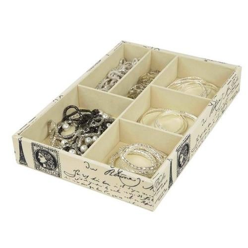 Home Basics DR49482 6 Compartment Jewelry Accessory Tray