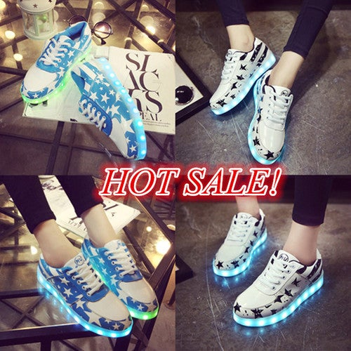 Unisex LED Lights Lace Up USB Charger Sportswear Sneakers Casual Luminous Shoes