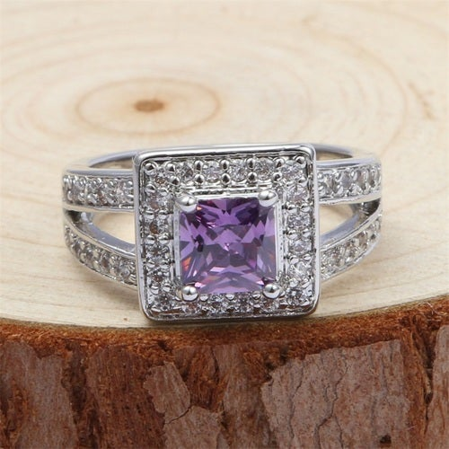 Stunning Square-cut 0.7ct Amethyst & White Sapphires Sterling Silver 925 Ring