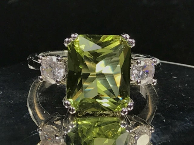 Cubic Zirconia on Silver Ring.