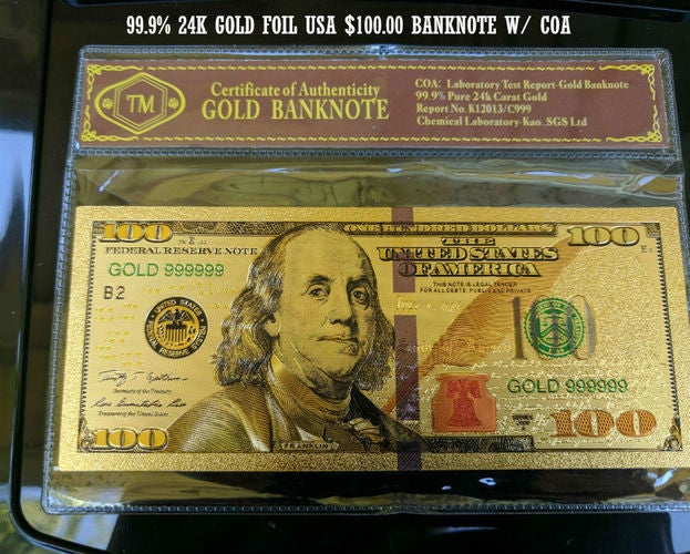 Limited 99.9% 24k Gold Foil Polymer Collectors US $100 with Certificate of Authenticity