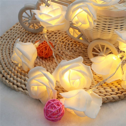 20LED Rose Flower Led Christmas Lights NewYear Wedding Christmas Decoration For Home String Fairy Light 2M Battery Operated