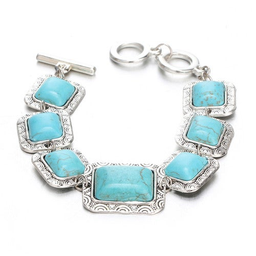 18kt White Gold Plated Turquoise Square Bracelet