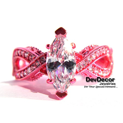 (#40) Gorgeous Fancy Pink Ring With Top Grade CZ