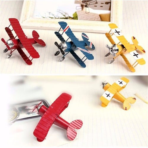 Antique Retro Metal Biplane Aircraft Airplane Model Home Decor Ornament Kid Toy