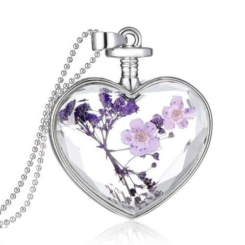 Glass Heart Enclosed Living Real Lavender Pendant Necklace