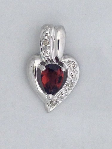 Natural Garnet with Natural Diamond Pendant 925 Sterling Silver