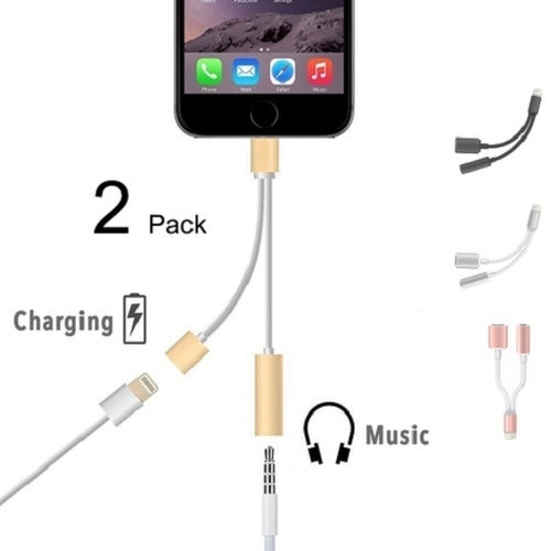 Listen and Charge for iPhone - 2 in 1 Lightning to 3.5 mm + Lightning Adapter