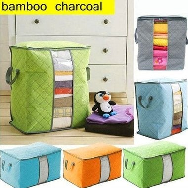 Storage Boxes More color bamboo charcoal receive bag Receive clothes quilt up