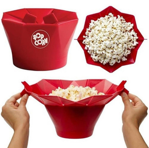 Homemade Corn Maker Bowl Healthy Silicone Microwave Popcorn Popper Maker Kitchen Accessories