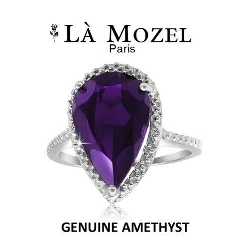 Luxurious HandCrafted 18KT White Gold Over Brass 5.00 Carat Genuine Amethyst Pear-Shaped Ring - Signature Collection