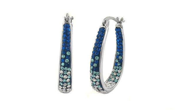 18Kt White Gold Plated Montana Blue Ombre Austrian Crystal Inside Outside Hoop Earings