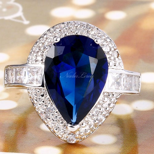 Captivating Blue & White Sapphire Sterling Silver 925 Ring