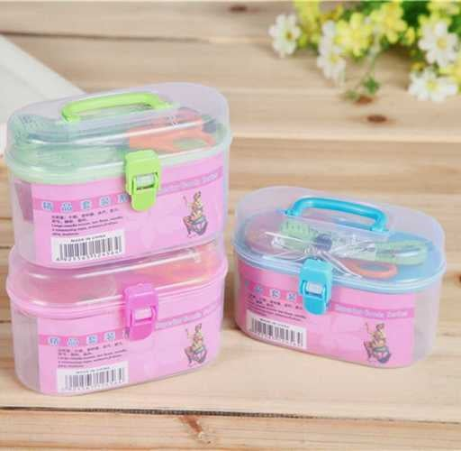 Home Travel Threader Needle Tape Measure Scissor Thimble Storage Box Sewing 1set