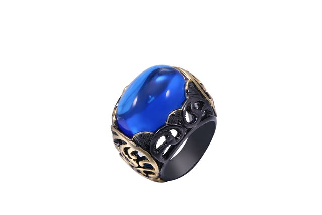 Black Rhodium Plated and Blue Agate Statement Ring