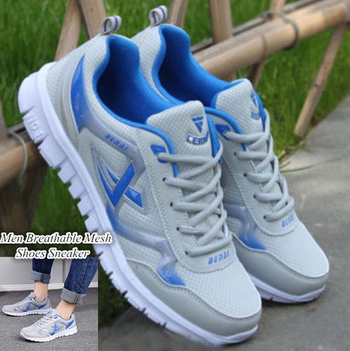Men Breathable Mesh Recreational Lace Up Casual Running Mens Golf Shoes Sneaker