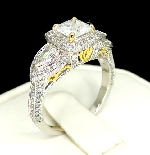 New Design Marquise Cut Ring Infinity Band  Black&white Crystals