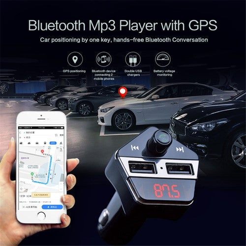 Universal Car Bluetooth A2DP FM Transmitter GPS Positioning gps tracker 12V 3.1A Dual USB Car Charger MP3 player with APP