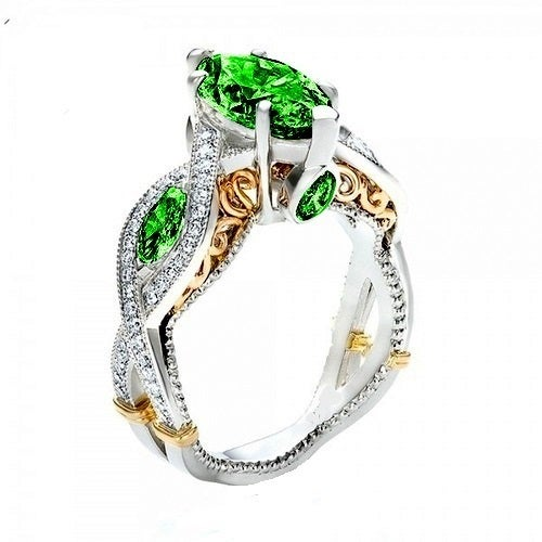 Brilliant Green Marquise White Gold Filled