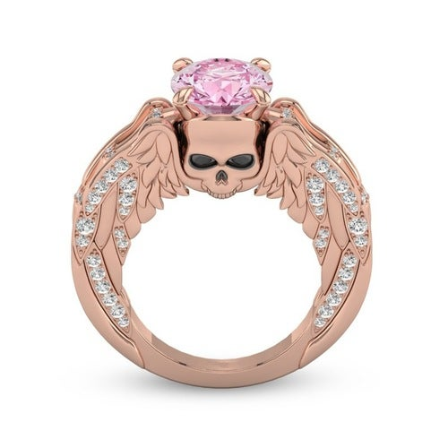18K Rose Gold Plated Punk Style Skull Pink Zircon Ring