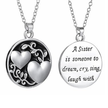 Fashion Jewelry Sister Monogram Double Heart Necklace Tree Of Life Pendant Siste