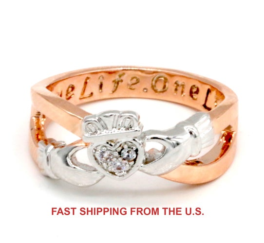 Two-tone Engraved Claddagh Rose Gold & White Gold Filled Women Friendship Ring Chrismas Gift #952