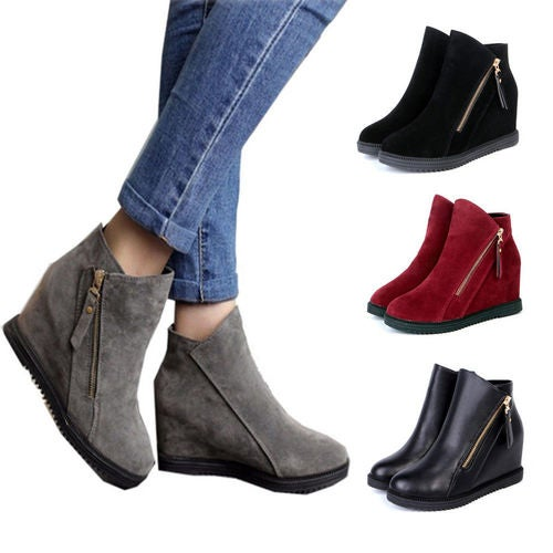 Fashion Womens Round Toe Zip Hidden Heels Ankle Boots Knight Casual Suede Shoes