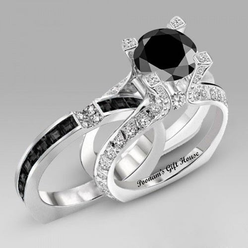 La Royale Black With Clear CZ Engagement Set