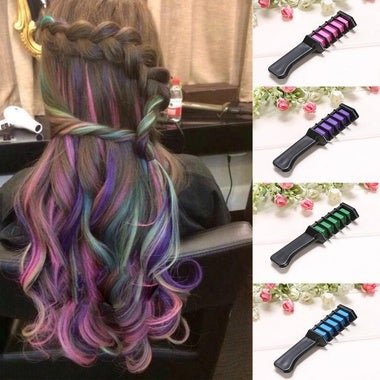 Magic Non-toxic Temporary Colorful Hair Color Chalk Comb for Party Cosplay