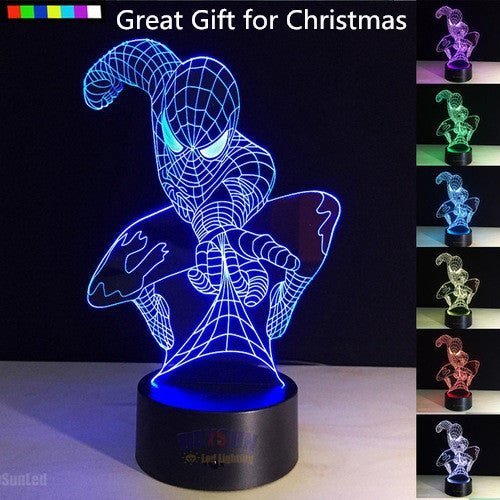 Great Gift for Christmas Cool Super Hero Spiderman 3D Table Lamp Optical Illusion Bulbing Night Light 7 Colors Changing Mood Lamp