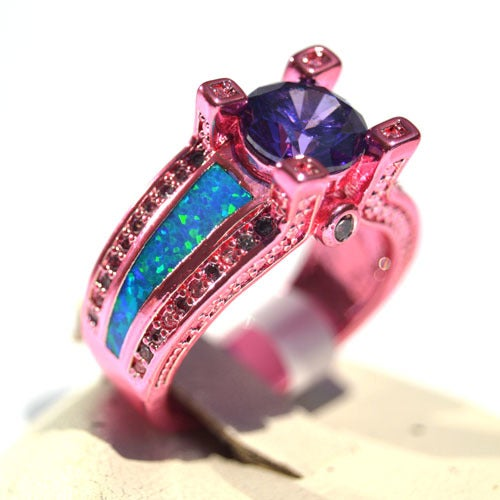 (#32) Pink Ring With Blue Lab Created Australian Opal (Size 5-8)