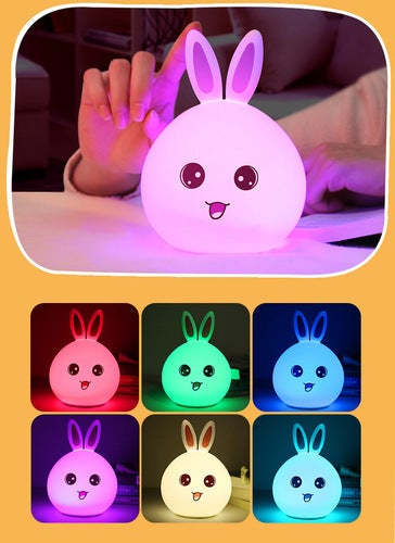 New Colorful Colorful Rabbit Silicone Light USB Charging Cute Rabbit Patlight Remote Control Color Change LED Ambient Light