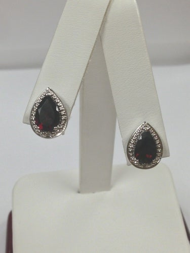 Natural Garnet with Natural Diamond Stud Earrings 925 Sterling Silver
