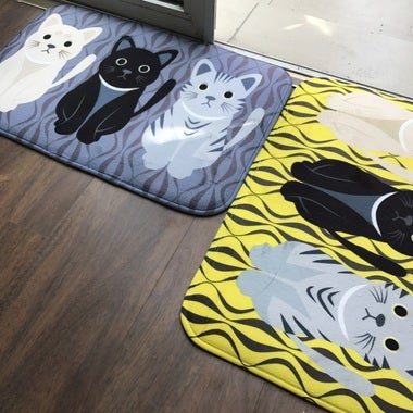 3Cats 40*60cm Kawaii Welcome Floor Mats Animal Cat Printed Bathroom Kitchen Carp