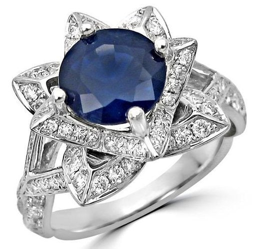 18K White Gold Plated Lab-created Sapphire Lotus Ring #563