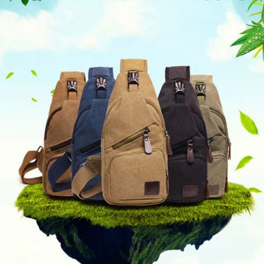5 Color Canvas Hiking Cross Body Chest Bag Sling Backpack