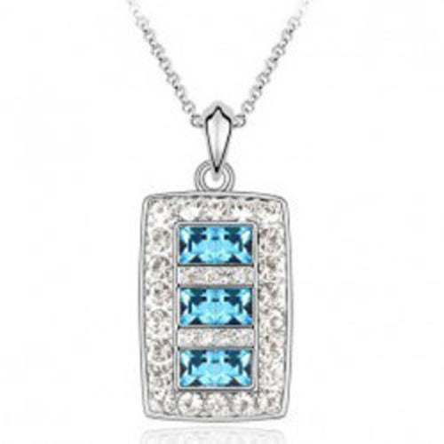 18kt White Gold Plated Rectangular Necklace Pendant
