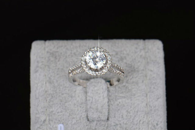White or Yellow Gold Plated Zircon Halo Ring