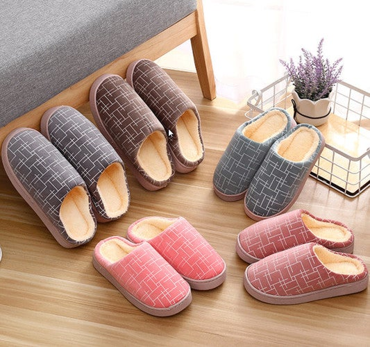 Couple home warm slippers half a pack of flat shoes
