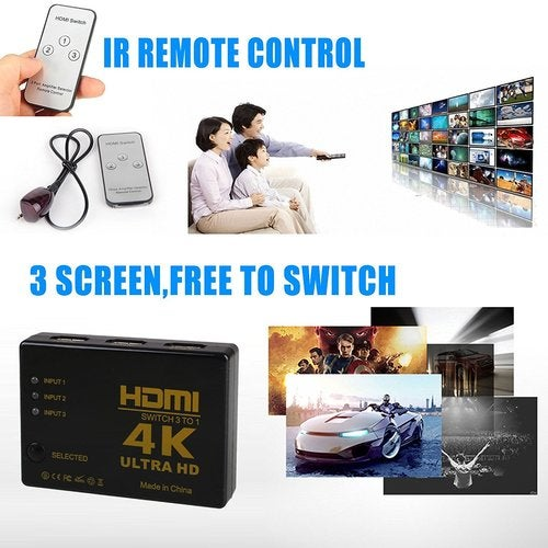 3x1 Port HDMI Switch/Switcher HDMI 1.4 High Speed Selector Box 3 input 1 output Compatible PCs XBOX TVs HDTV DVD Xbox Supports 3D 1080P Intelligent with IR Wireless Remote