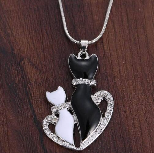 Silver Plated Cute Small Crystal Cat Pendant Animal Necklace Couple Necklace