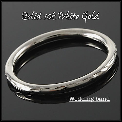 Solid 10k White Gold Band #glamgold4305