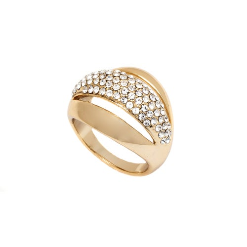 Yellow Gold Filled and Swarovski Elements Triple Strand Ring