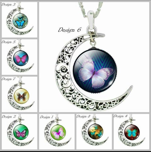 New Half Moon Butterfly Pendant Necklace Pic Your Style