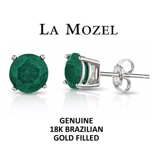 Luxurious Handcrafted 18K Brazilian Gold Filled Emerald Round Cut Stud Earrings